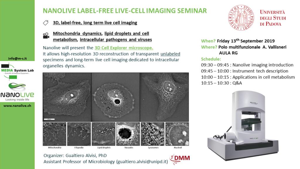 live cell, cellule, seminario gratuito live cell imaging, università di padova, biologia, virologia, analisi cellule in vivo